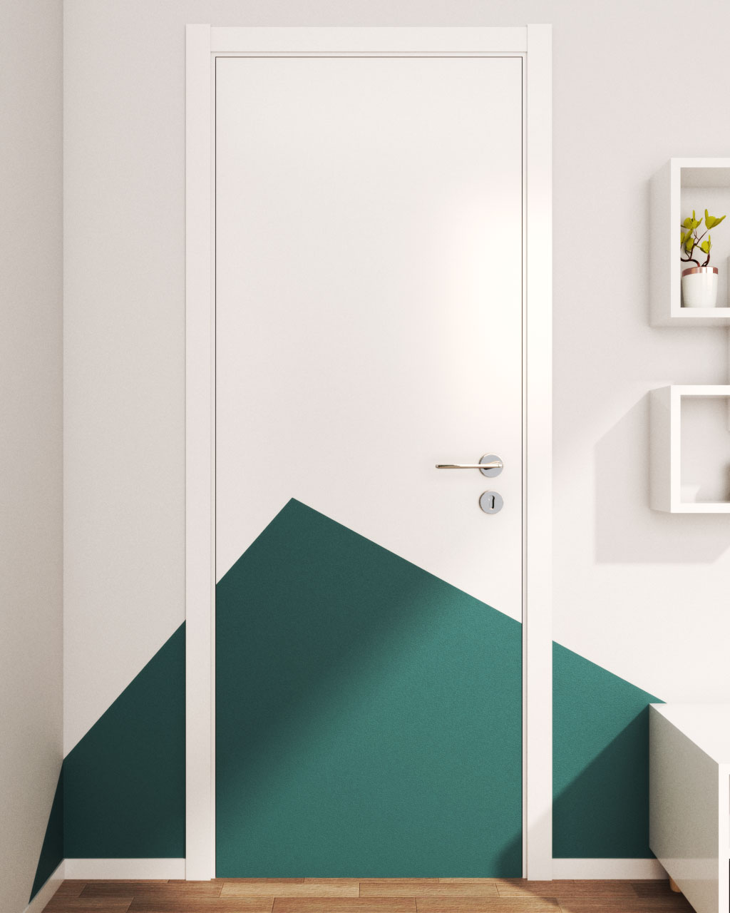 Repaint Bedroom Door using Geometric Pattern
