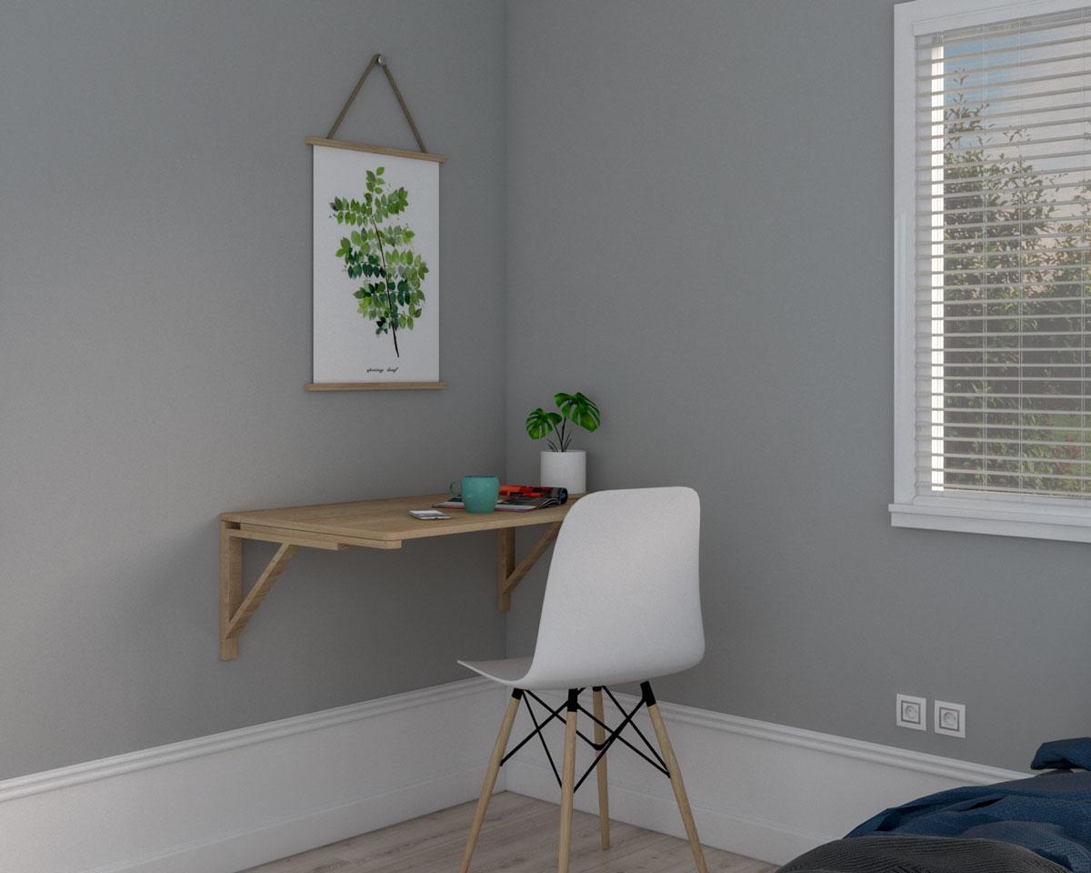 Breakfast or coffee table in bedroom corner
