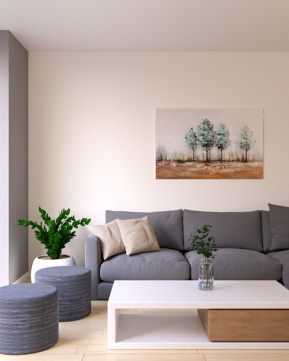 Beige wall paint with gray minimalist sofa