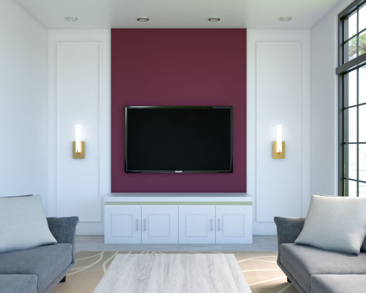 Burgundy accent wall behind TV ideas