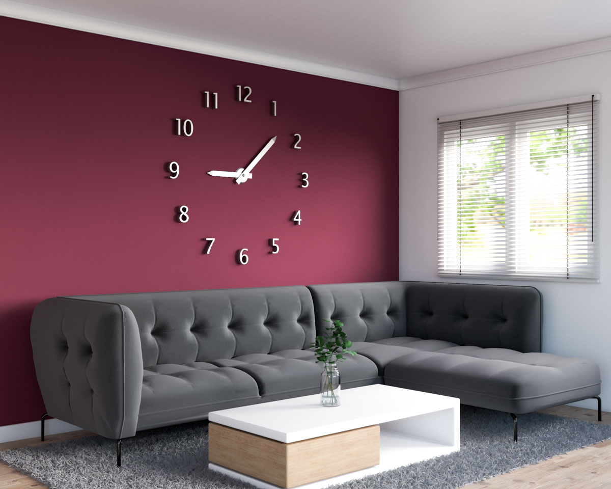 Contemporary living room with burgundy accent wall and large frameless wall clock