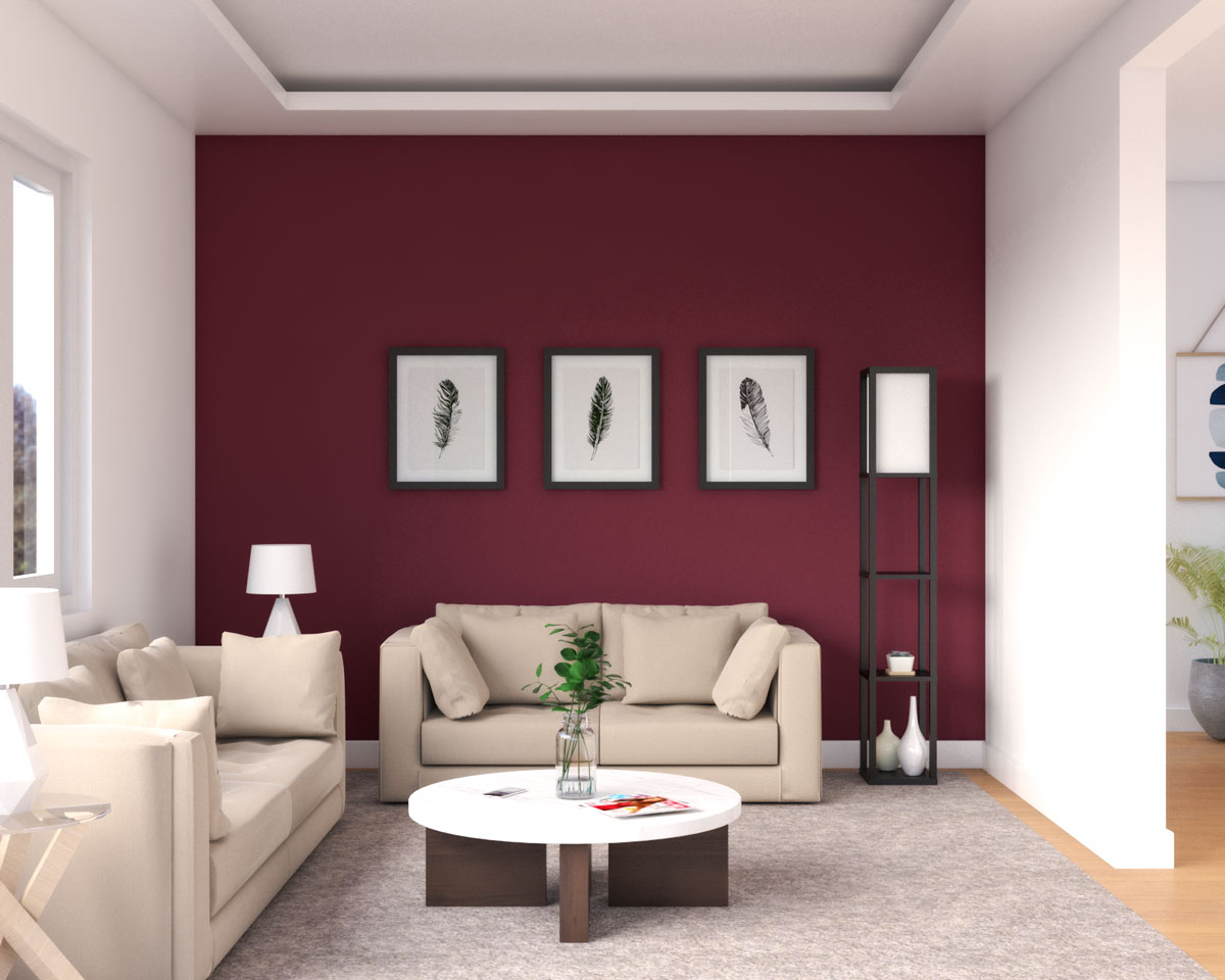 Cozy and comfy living room with burgundy wall ideas