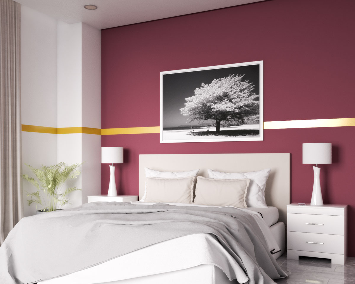 Gold stripe and burgundy accent wall in bedroom ideas