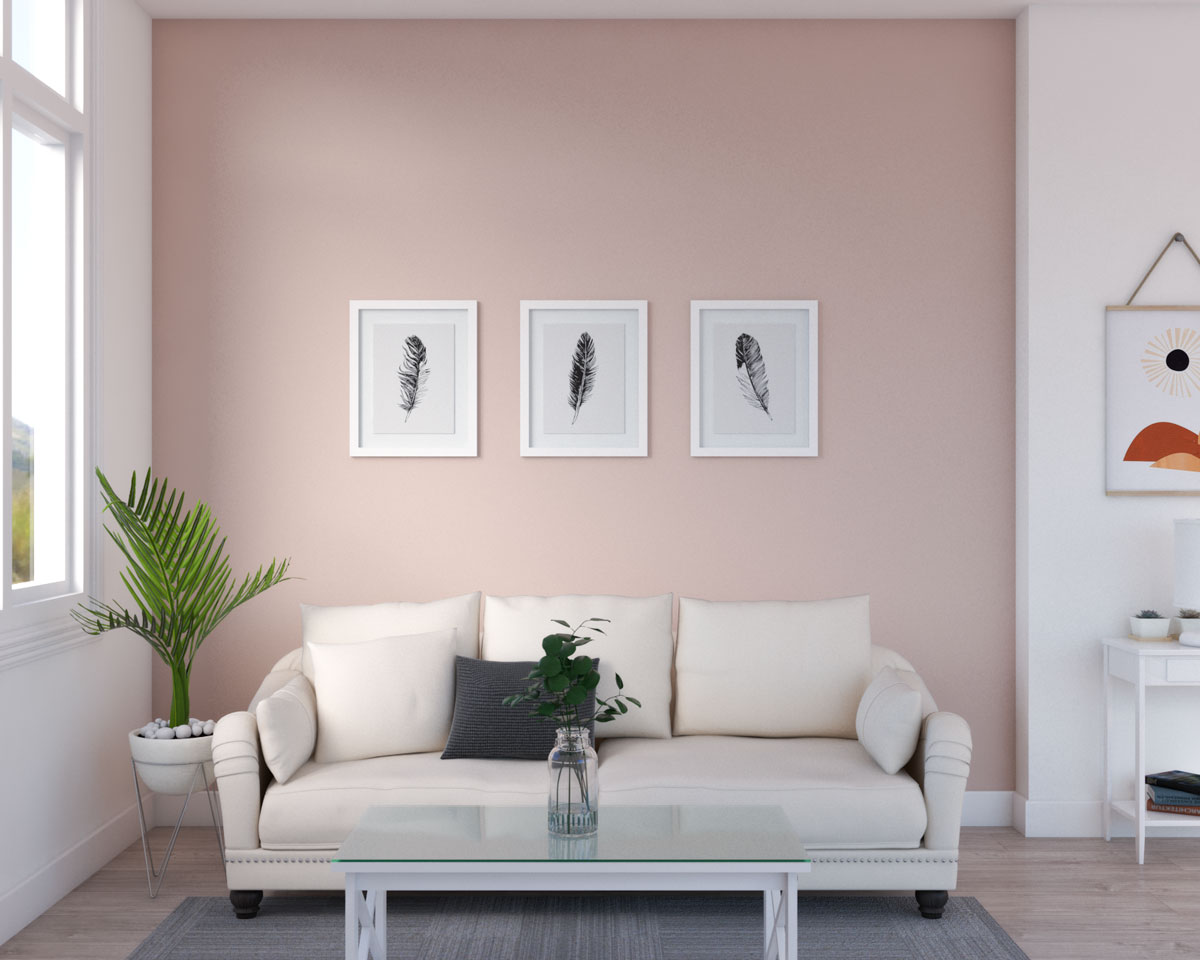 Elegant living room with blush pink accent wall