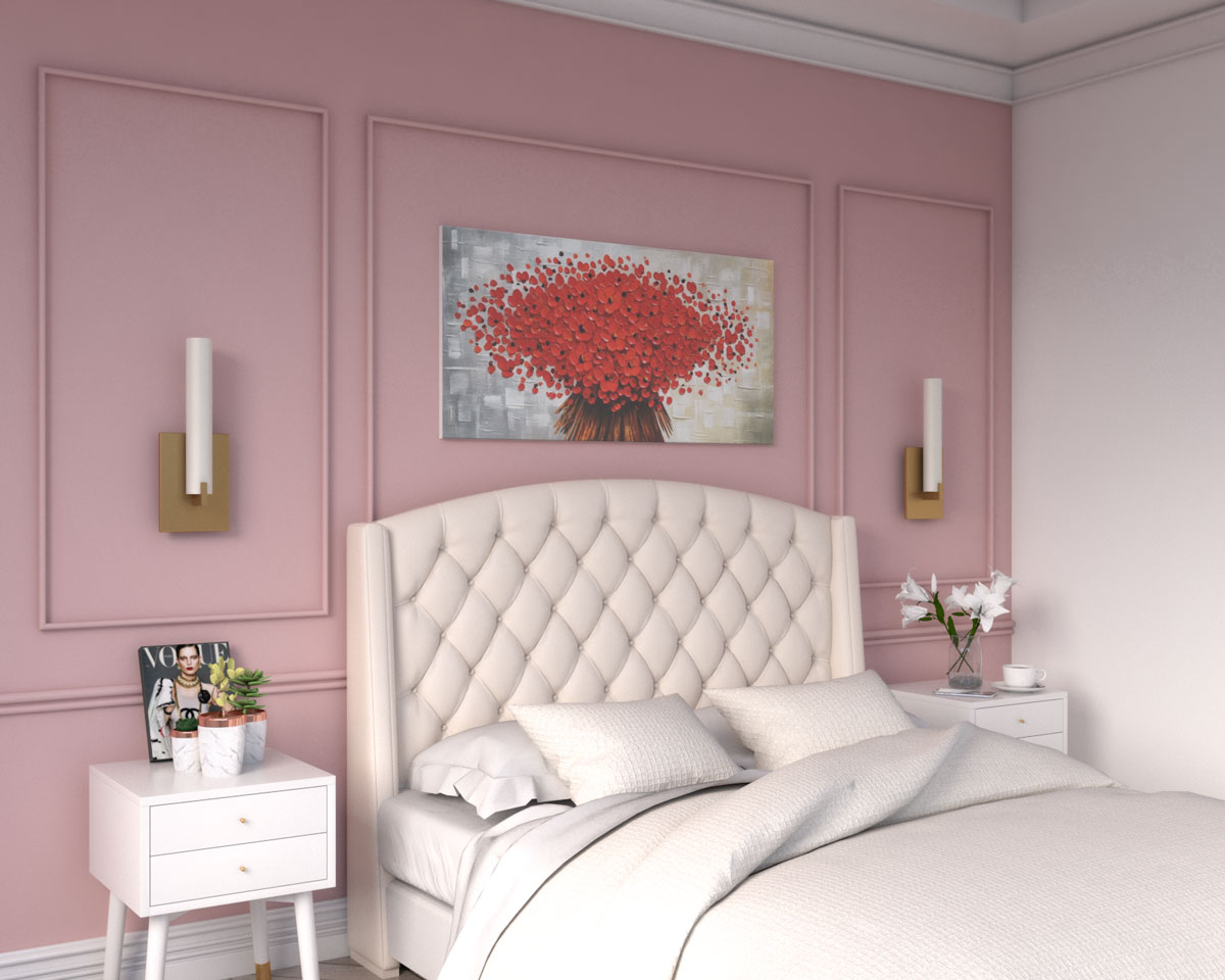 Art-deco bedroom with pink accent wall
