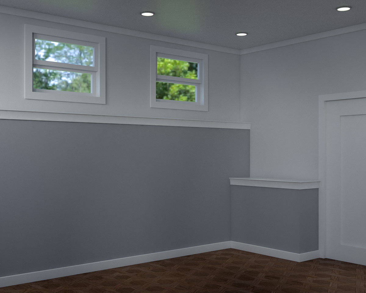 Simple gray and white 2 tier half wall ledge ideas