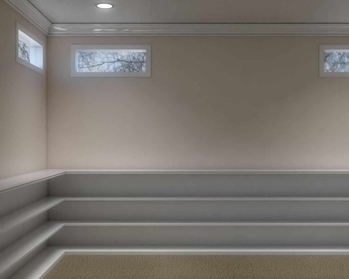 Basement ledge with shelves ideas