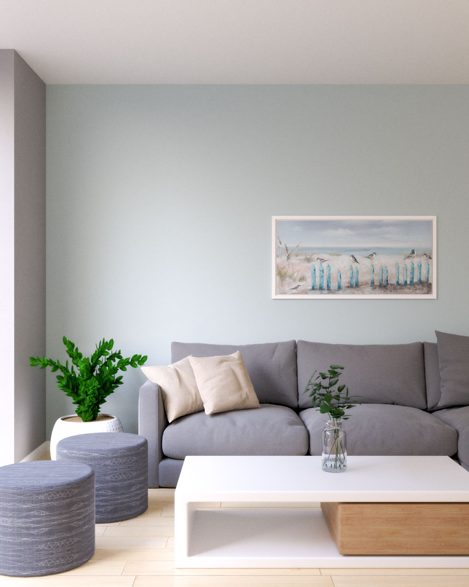 Grayish blue wall paint with gray couch