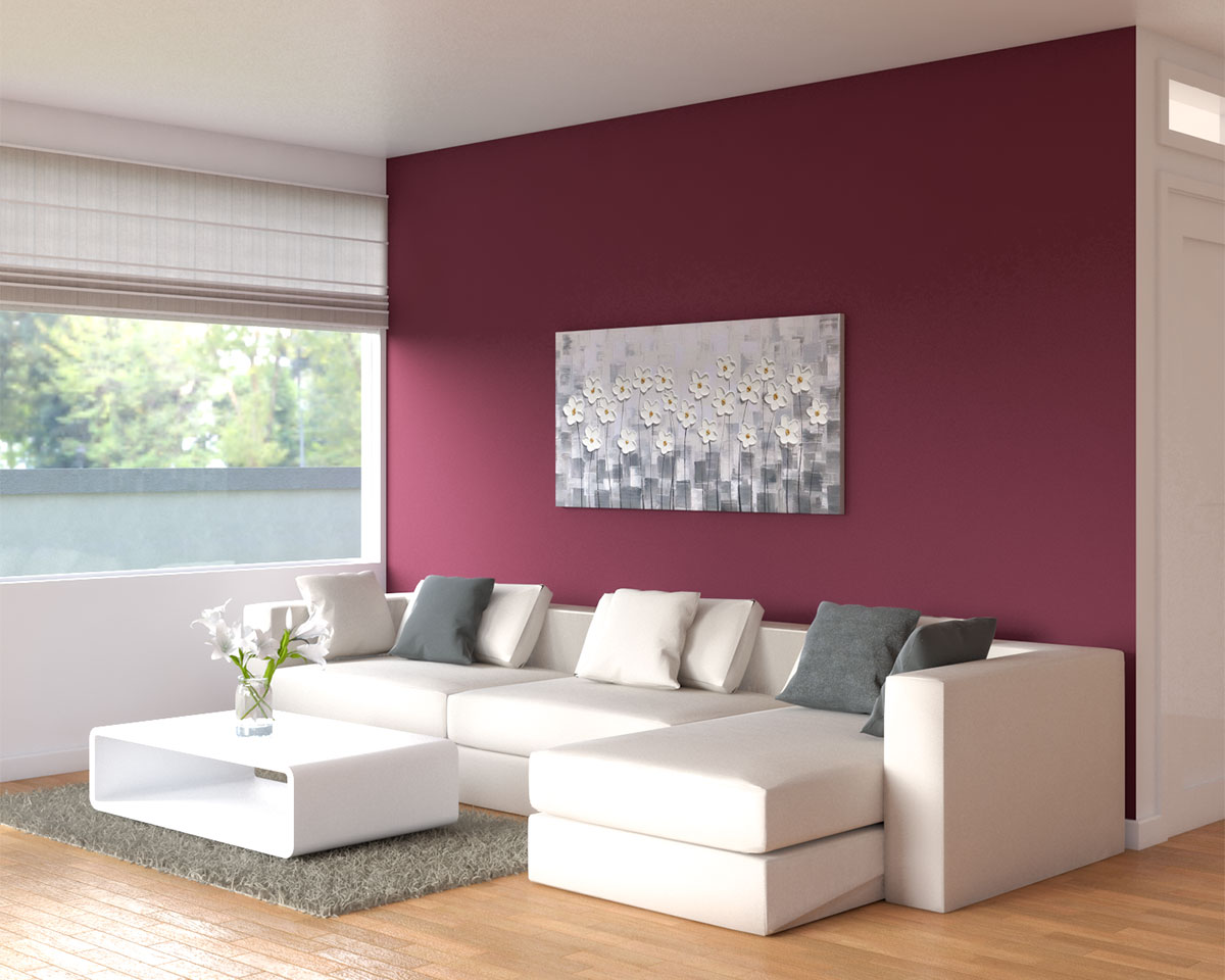 Minimalist living room with burgundy accent wall ideas