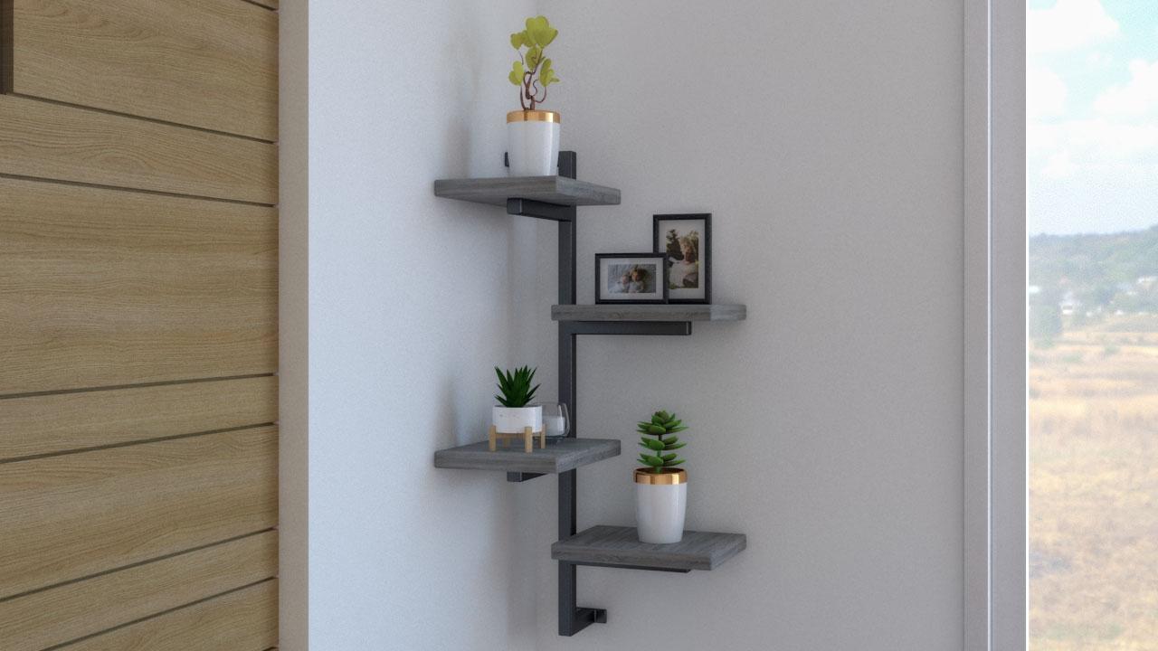 Organize bedroom using corner shelf