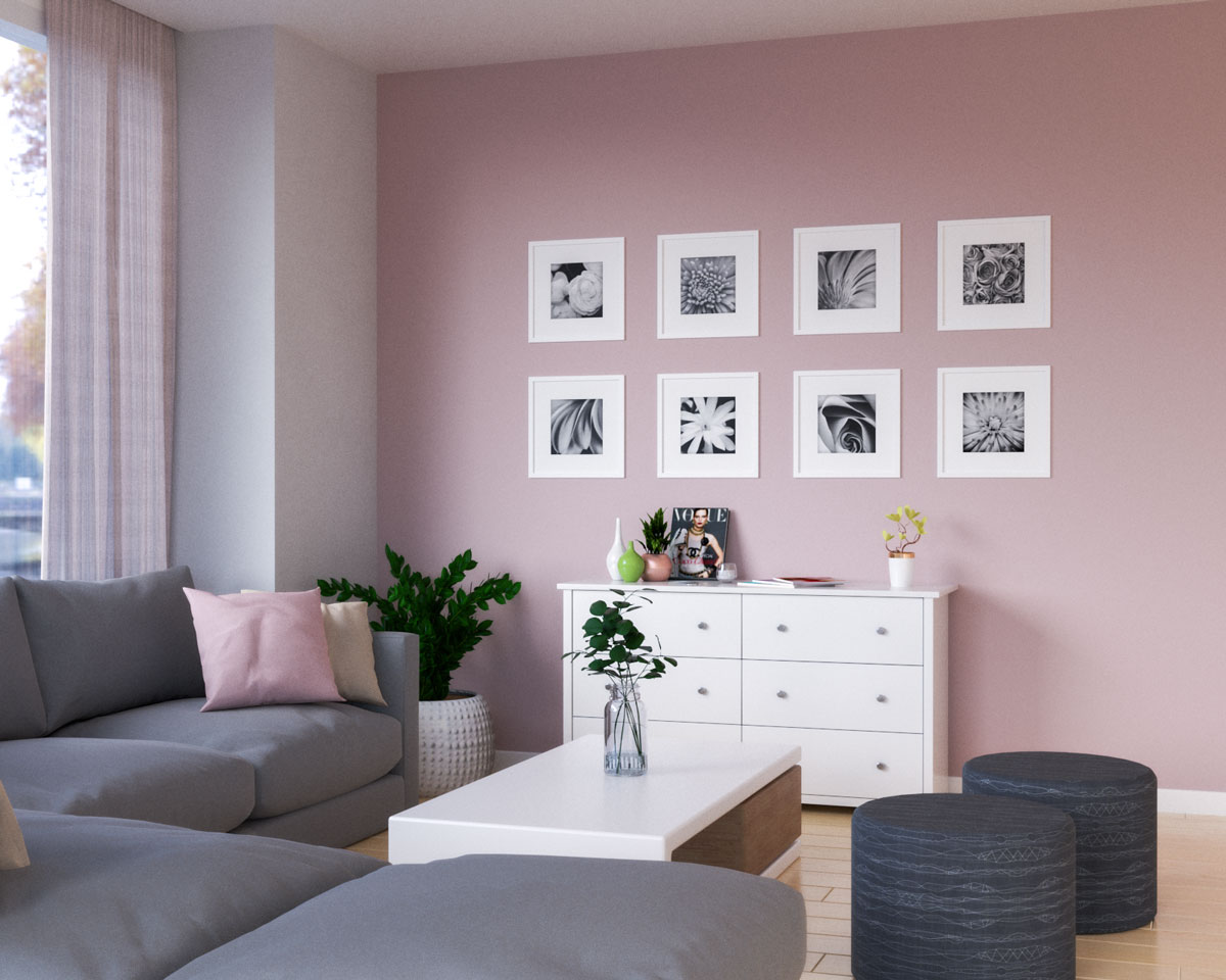 Minimalist pink accent wall for living room ideas