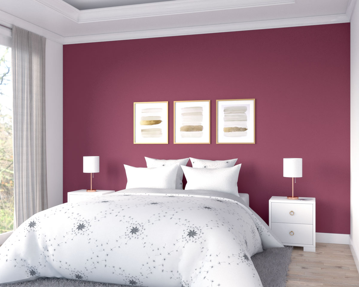Simple classic plain burgundy accent wall with gold decor for bedroom ideas