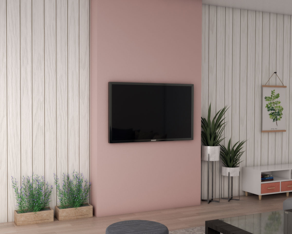 Pink accent wall with mounted tv in living room