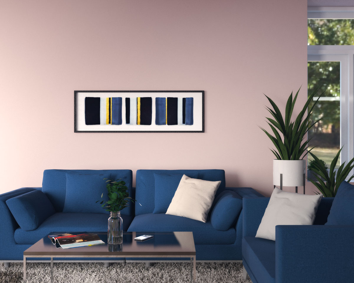 Pink wall with blue sofa ideas