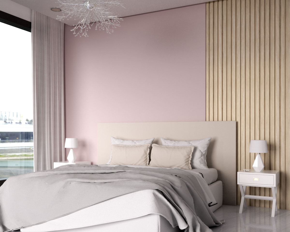 Contemporary bedroom with pink and wood accent wall