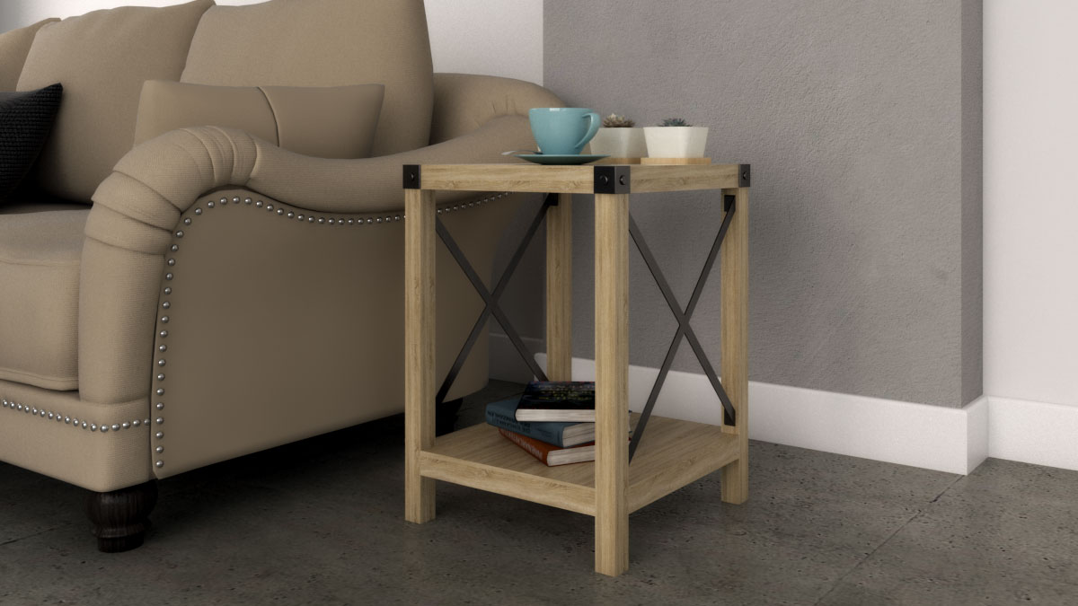 Rustic coffee table with open shelf