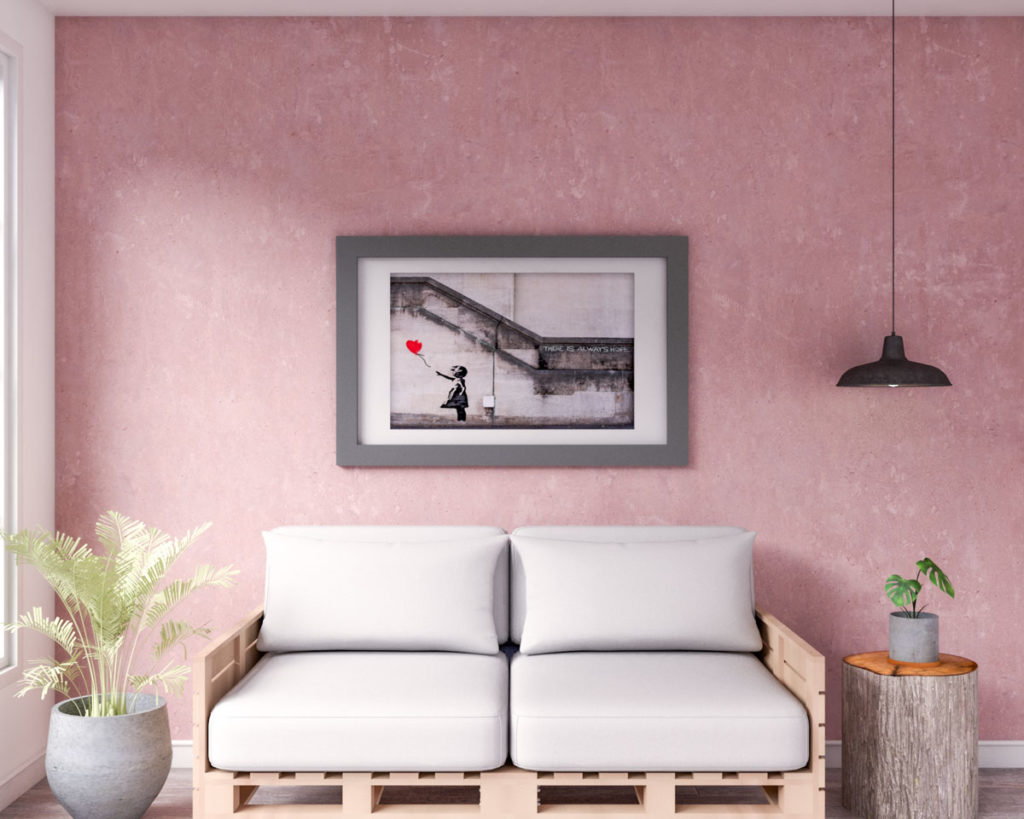 Rustic living room with pink accent wall ideas