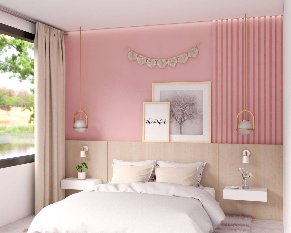 Glamorous modern pink bedroom with accent wall