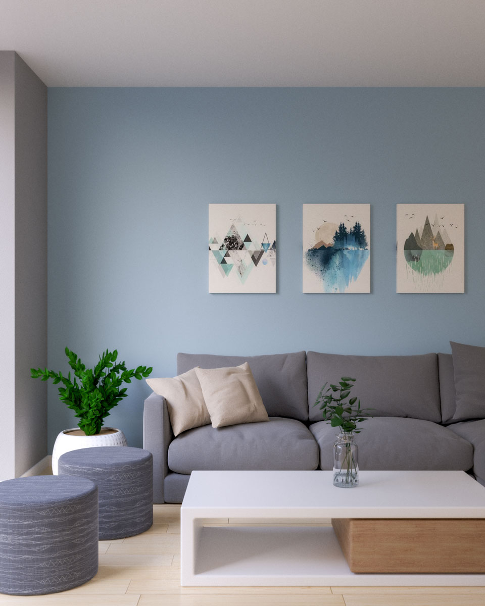 Light blue wall paint with gray couch
