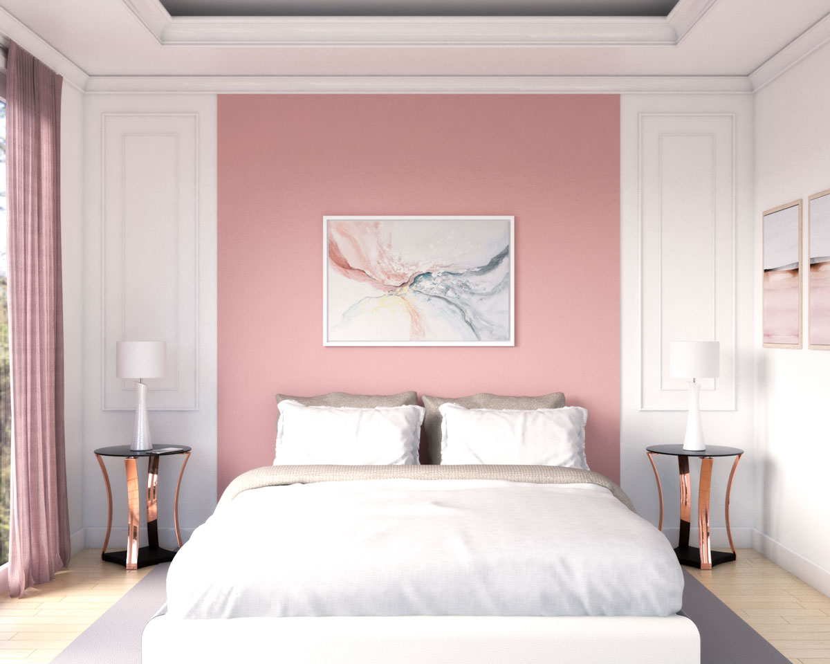 Small classic bedroom with pink accent wall