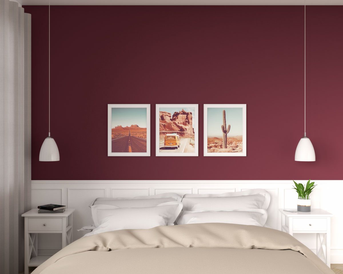 Vintage bedroom with burgundy accent wall ideas