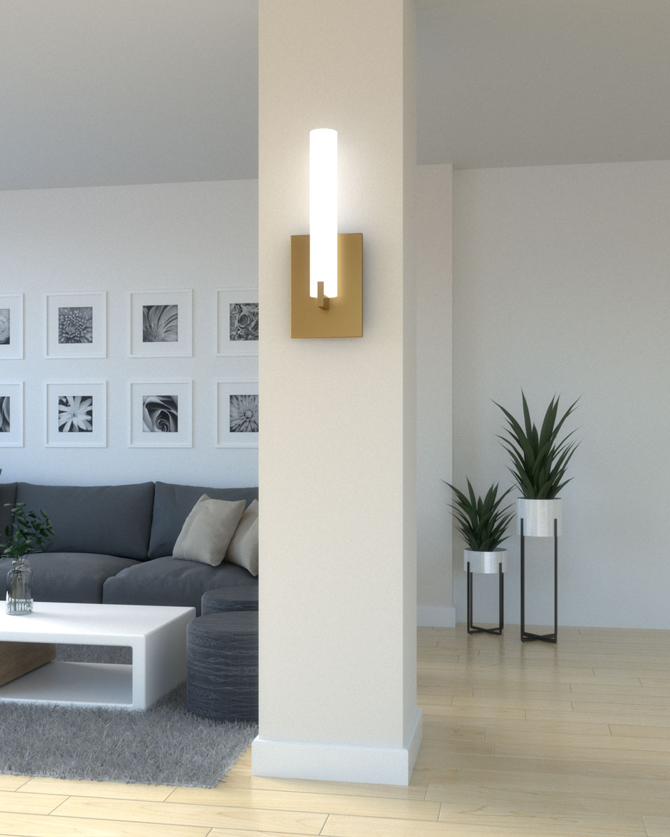 Column with wall lamp / wall sconce