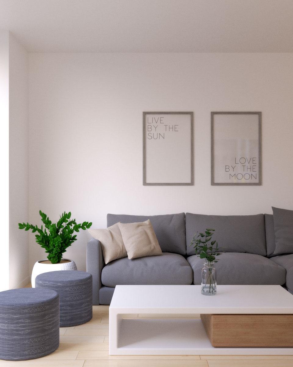 White wall paint with gray sofa ideas