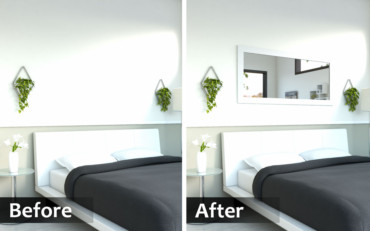 Wall mirror that help make a bedroom feel more spacious