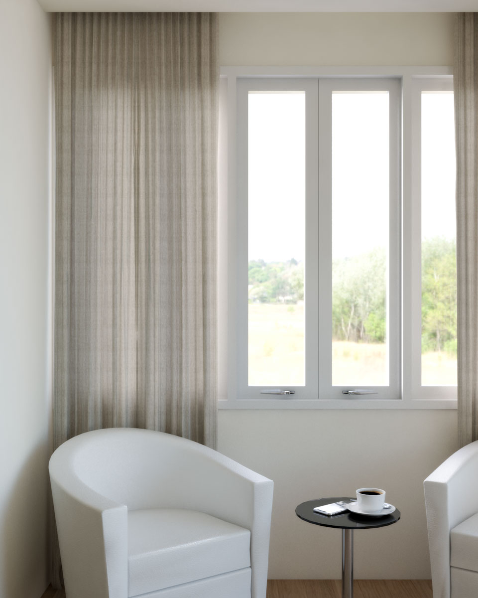 dark beige curtains with beige wall
