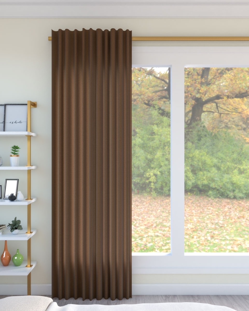 Dark brown curtains with beige wall