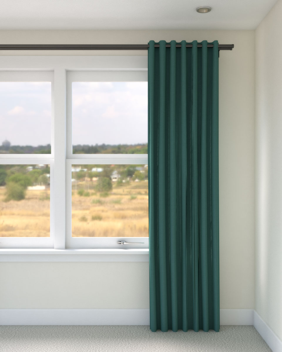 Turquoise curtains with beige wall
