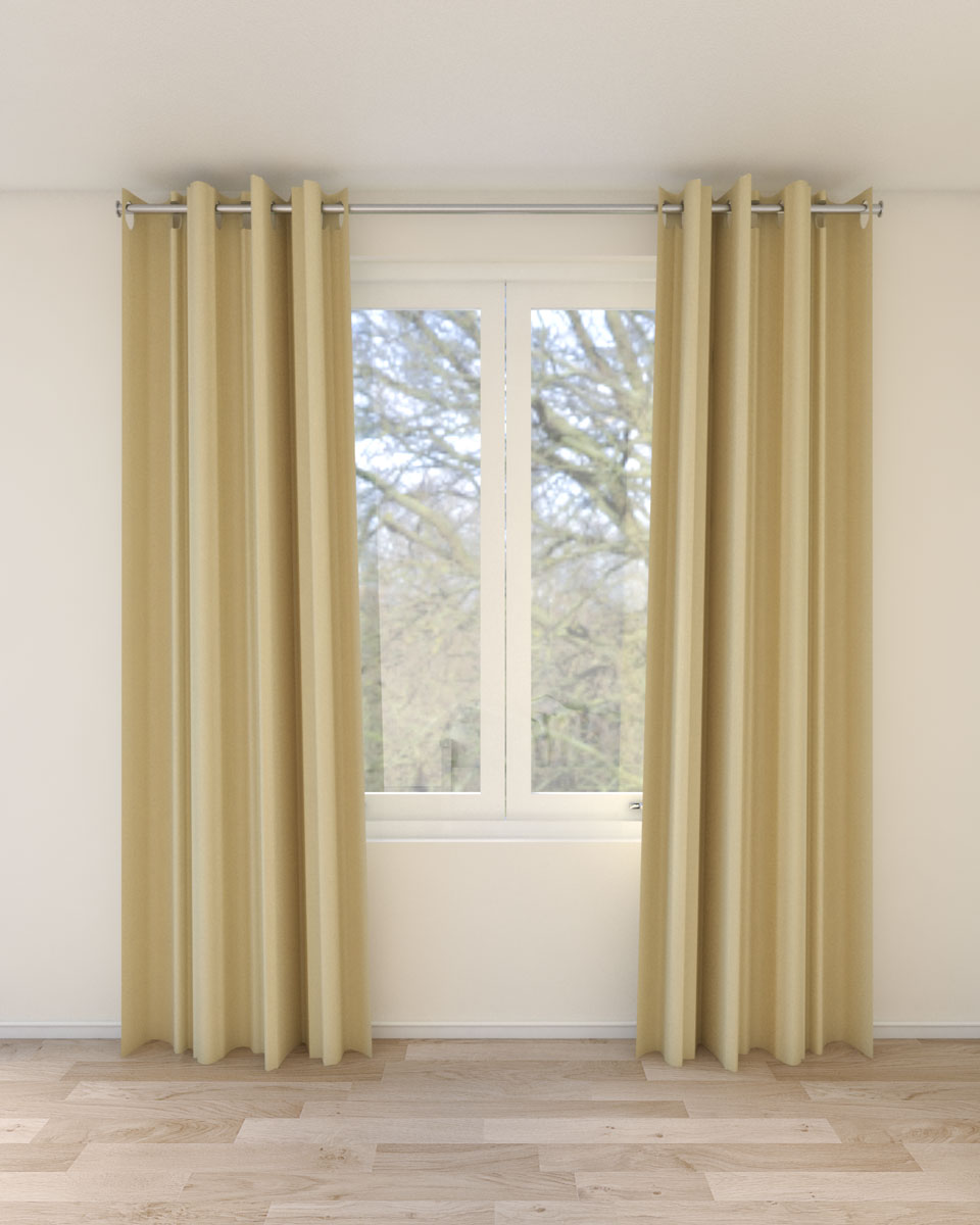 Pale yellow curtains with beige wall ideas