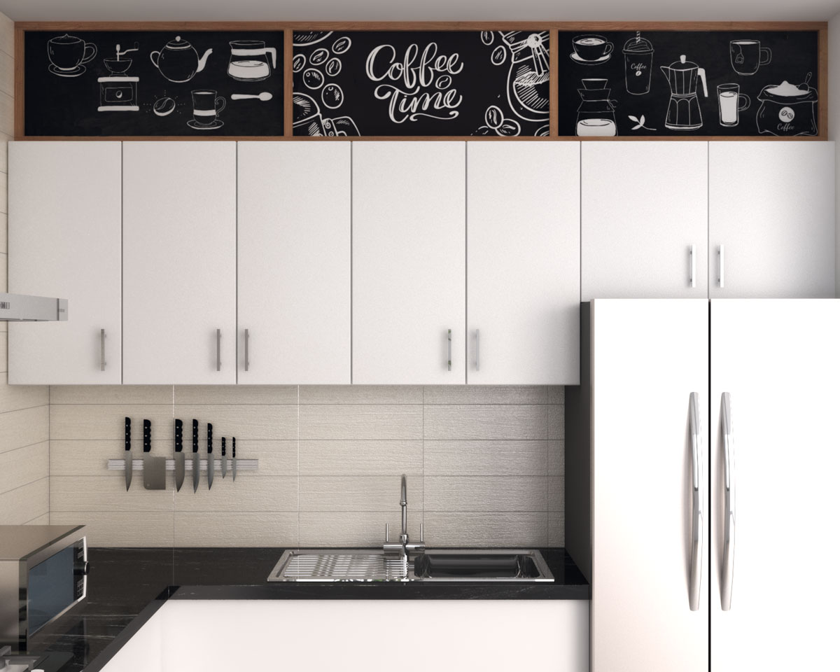 Artistic decor ideas above kitchen cabinets with cafe style chalkboard