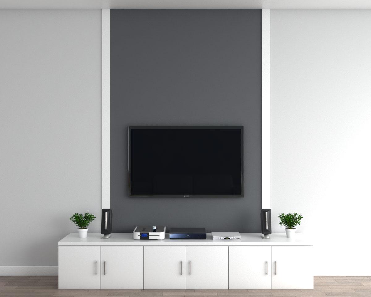 TV with custom wall frame