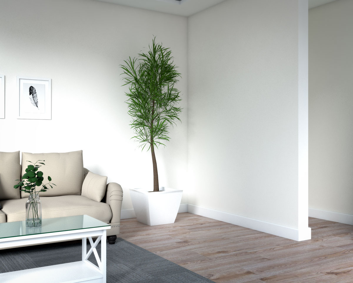 Large artificial tree to decorate empty space in living room