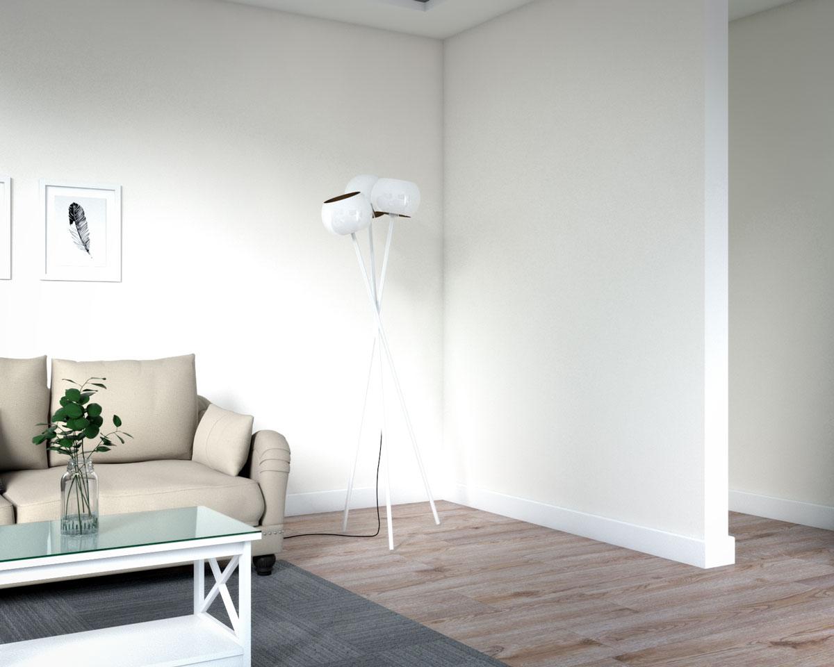 Decorative standing floor lamp in living room corner