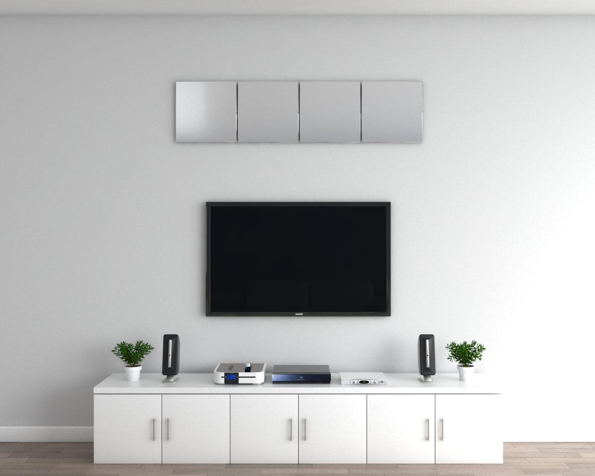 Decorative mirror above TV