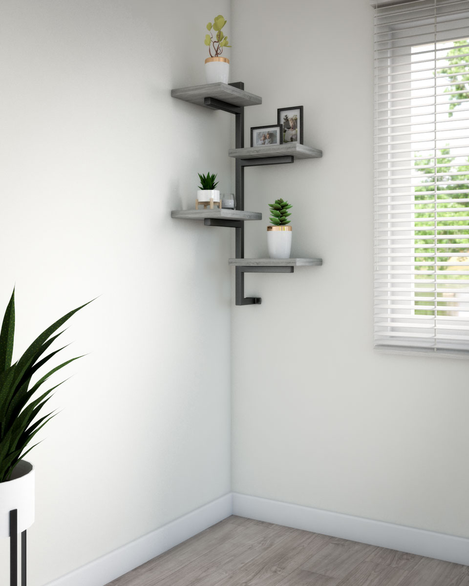 Elegant stylish wooden corner shelf