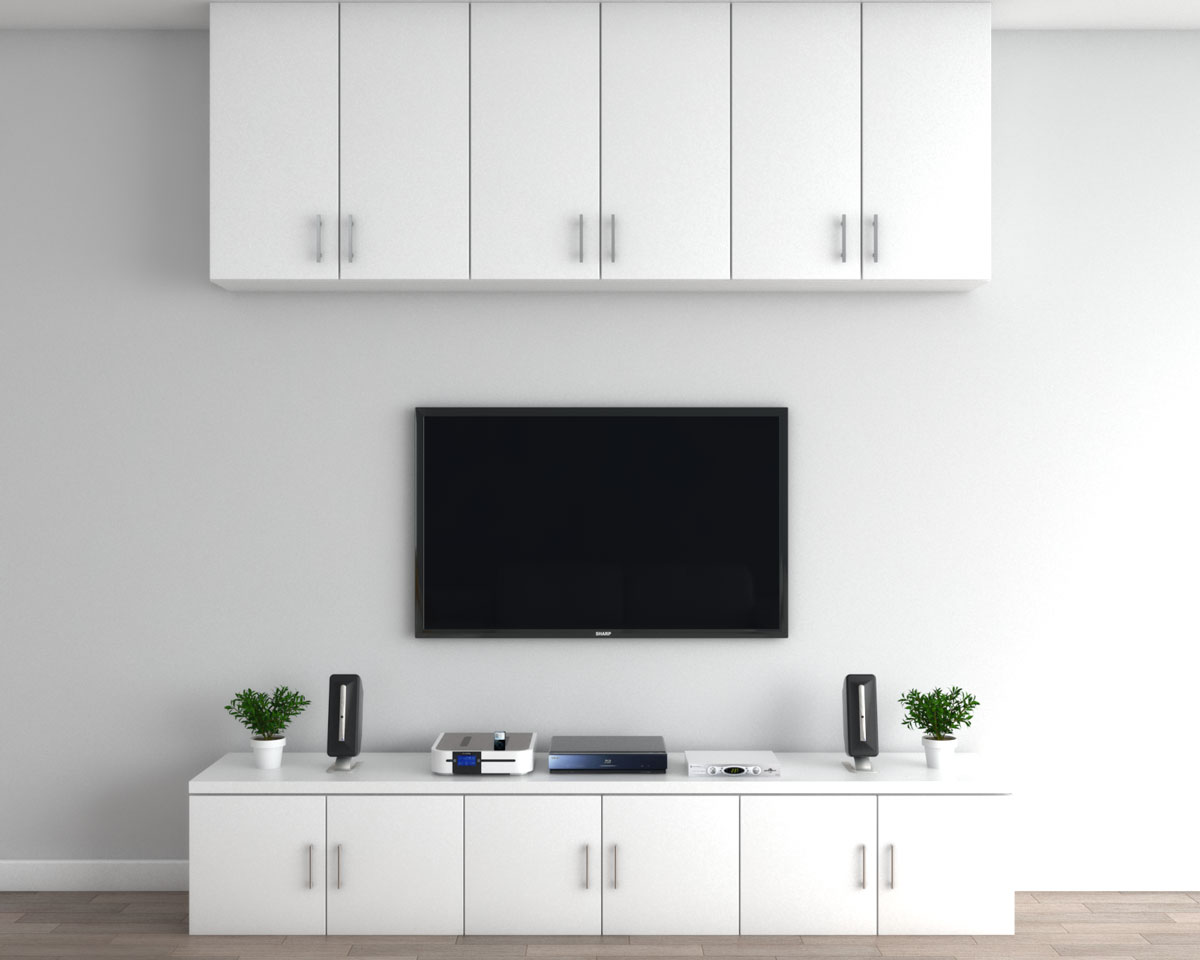 Floating wall cabinet above TV