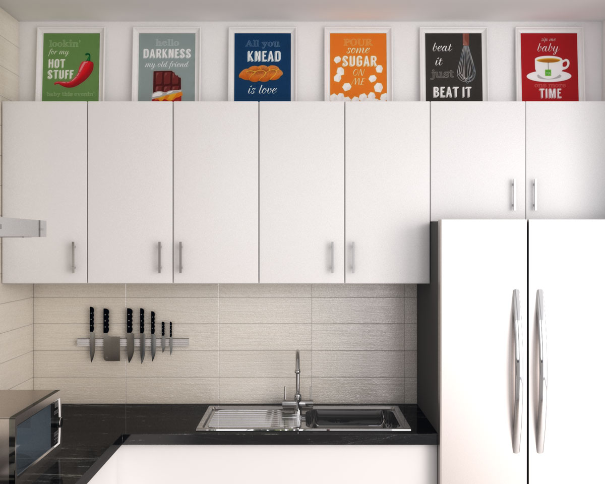 Decor ideas above kitchen cabinets with set of kitchen themed wall art
