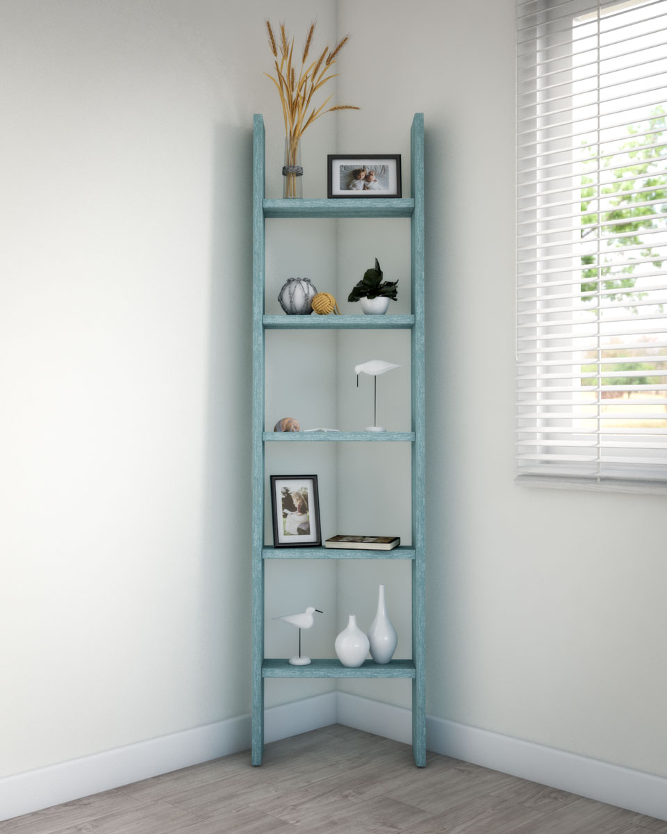 Decorate corner shelf in coastal style