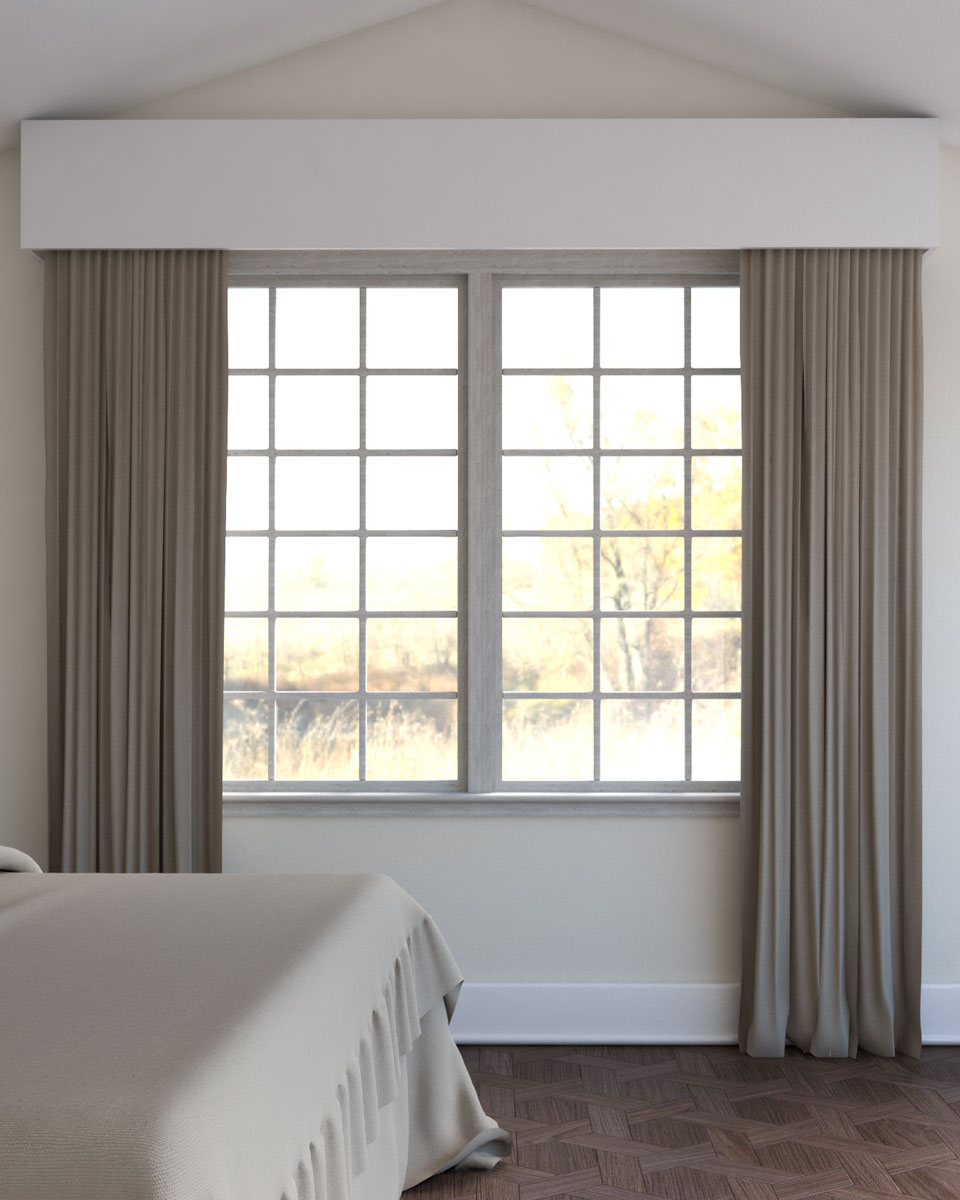 Light brown curtains with beige wall in bedroom