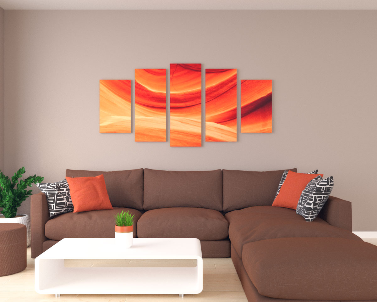Large orange wall art in living room