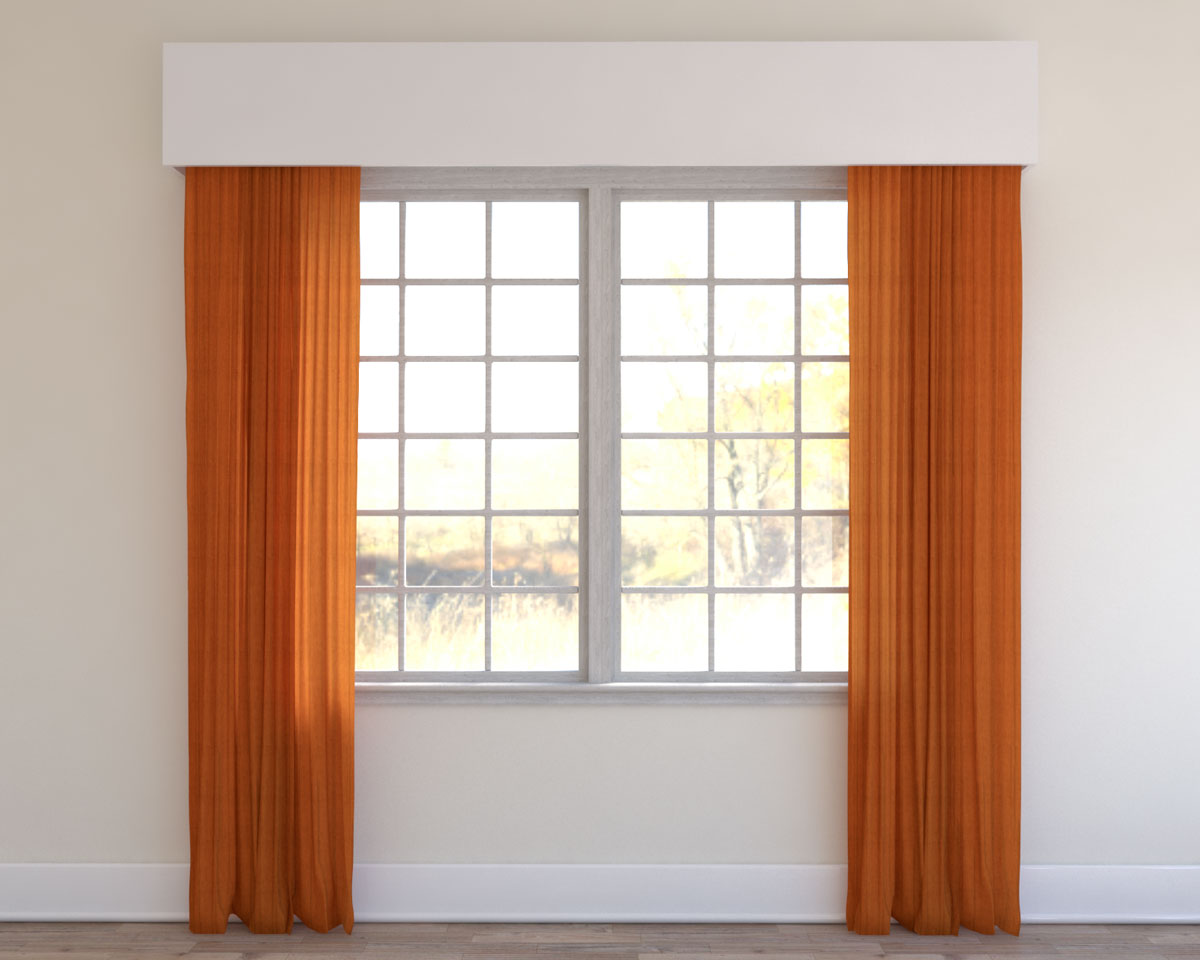 Orange living room curtains