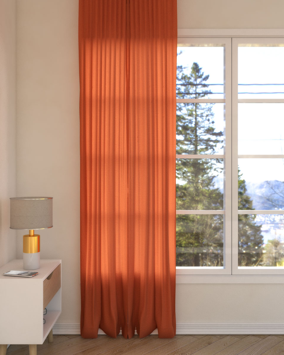 Vibrant orange curtains with beige wall paint