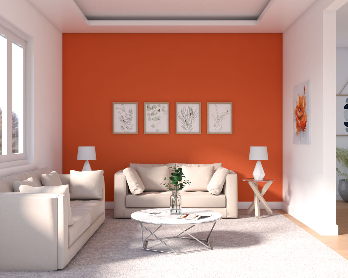 Orange living room accent wall ideas