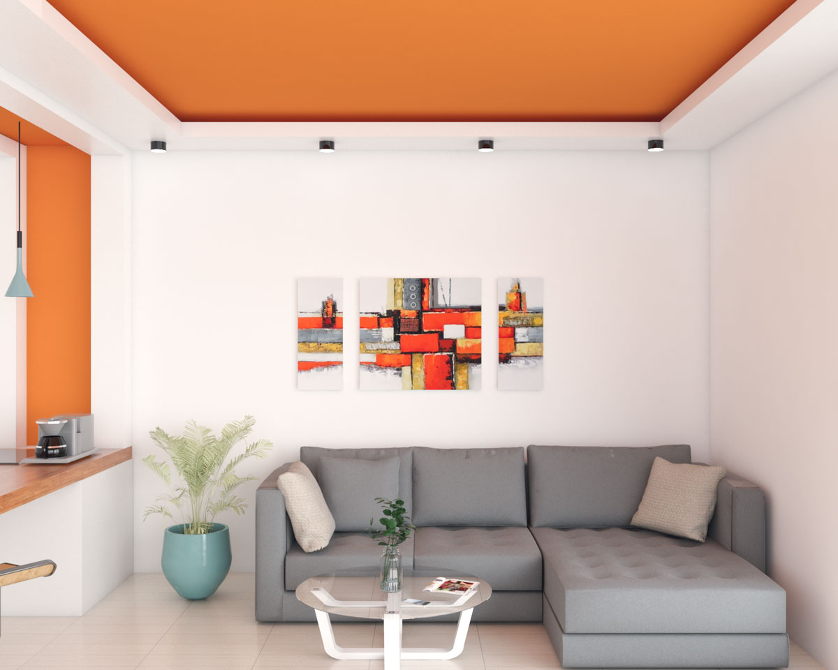 Living room with orange ceiling