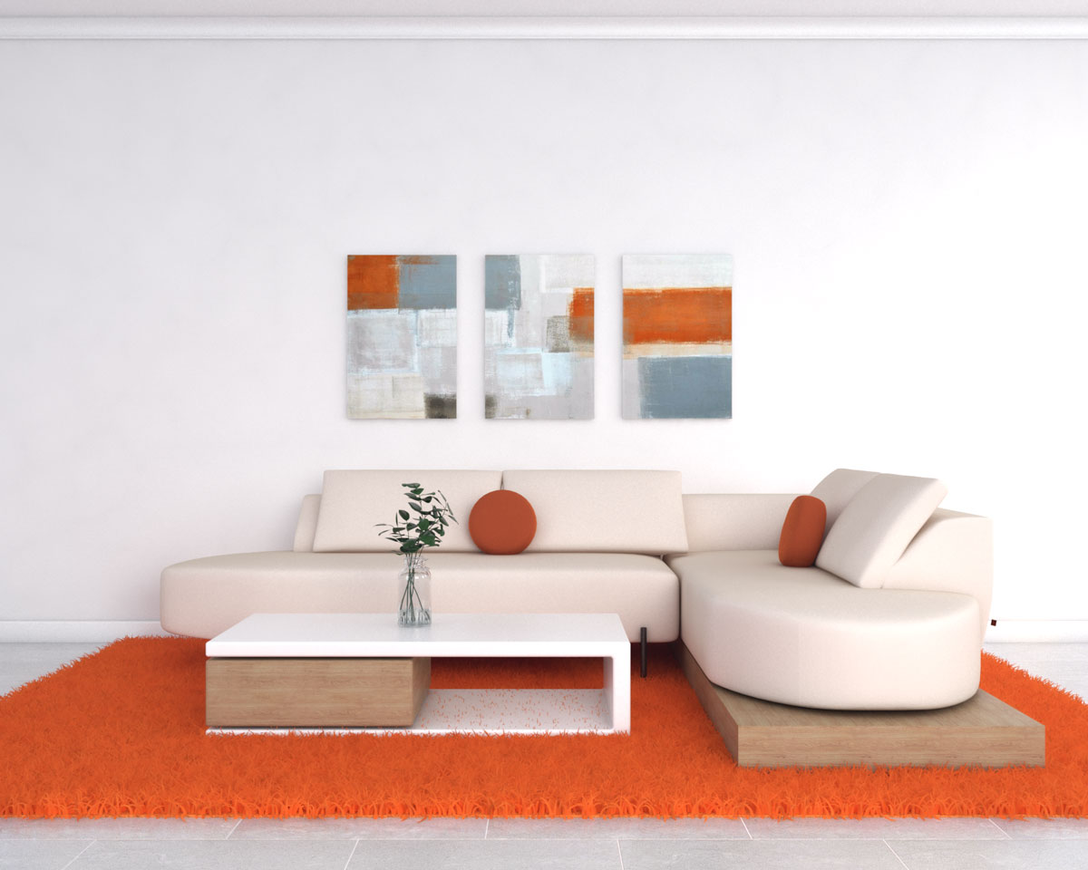 Living room with orange rug