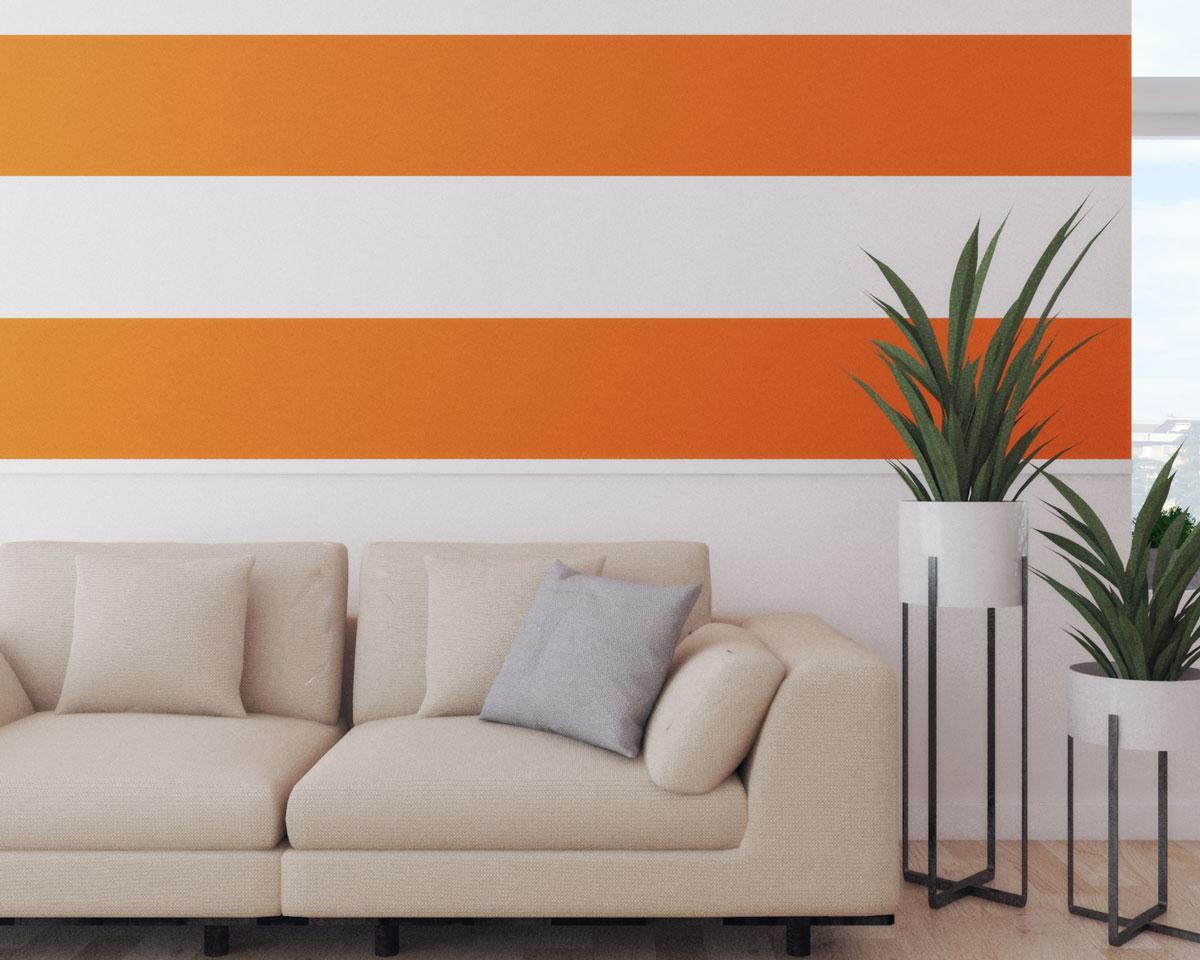 Orange horizontal striped wall ideas