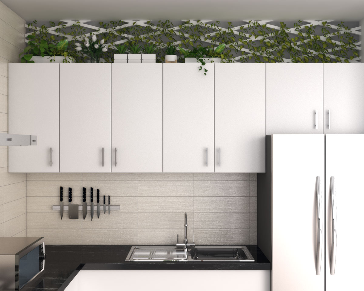 above kitchen cabinet decor using plant and vegetation